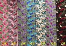 7 style Multi-color plum blossom flat embroidered polyester lace fabric plant flower mesh yarn wedding DIY patches A030