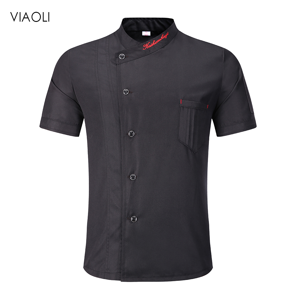 Viaoli Chef Jacket Hotel Chef's Uniform Short Sleeve Mesh Breathable Workwear Catering Restaurant Kitchen Bakery Shirt Wholesale