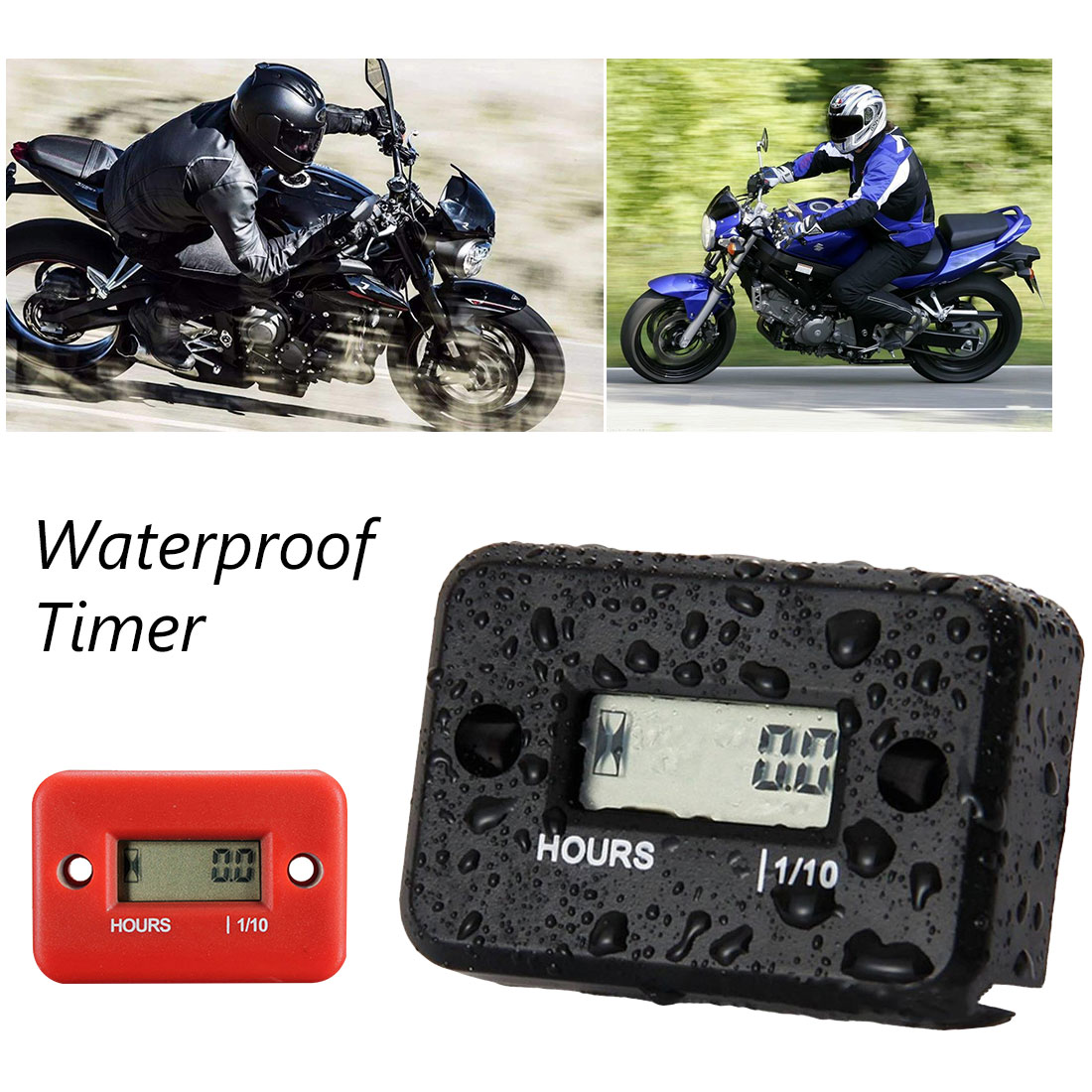 1pcs Waterproof LCD Display Digital Hour Meter Inductive Hour Meter Tachometer for Bike Motorcycle Snowmobile Marine Engine image