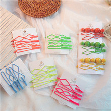 Summer Korean Simple Beautiful Fluorescent Matte Colorful Hairpins Girl Womens Headdress Fashion Personality Hair Accessories