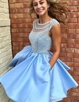 Небесно Голубой 2019 платья line Кепки рукава атласная Жемчуг Короткие Мини спинки элегантные коктейльные платья