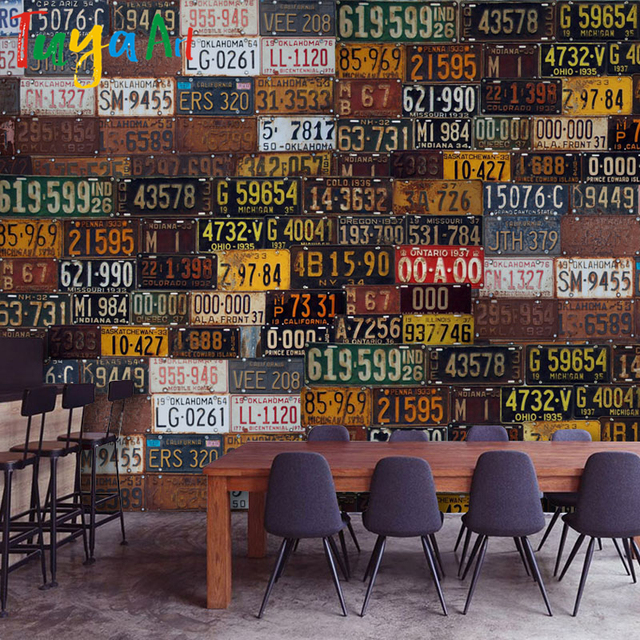 Tuya Art 3D wall-paper industrial rusty car number plates collage mixed vintage style for & Tuya Art 3D wall paper industrial rusty car number plates collage ...