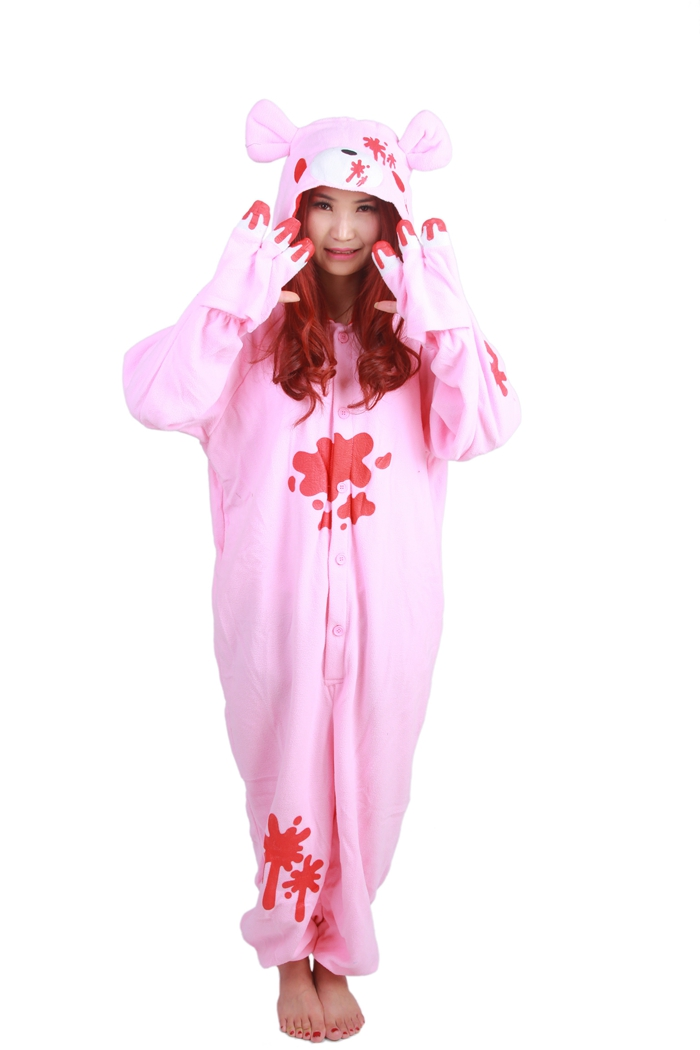 Unisex Fleece Adult Gloomy Pink Bear Onesies Animal Cosplay Costume Halloween Xmas Pajam ...