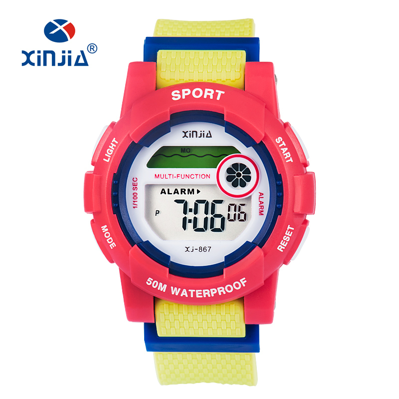 XINJIA New Fashion Jelly Digital Watch For Children Unisex Boy Girl Super 50M Waterproof Shock Resist Outdoor Sport Swimming