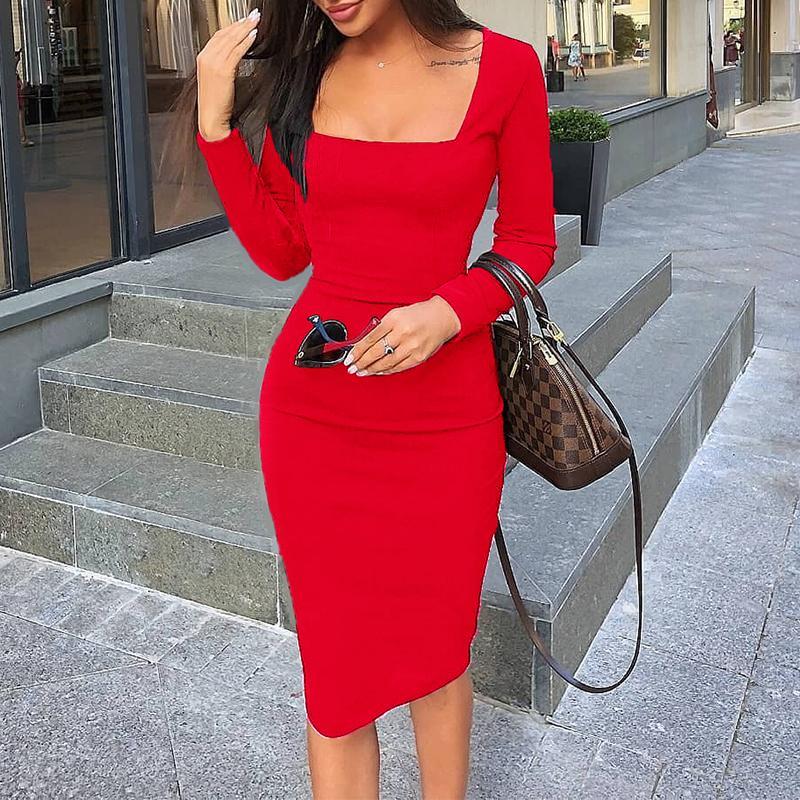 Sianaoi Career Female Peplum Work Women Dress 3//4 Sleeve O Neck Fashion Sheath Office Plus Size Bodycon Pencil Work Dresses