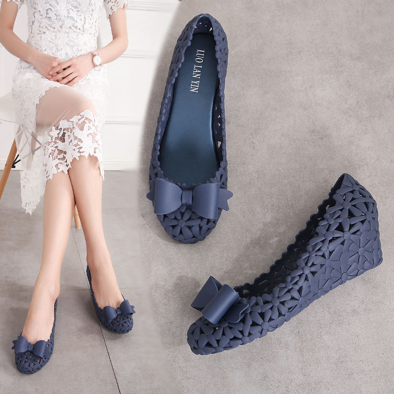 EOEODOIT Jelly Pumps Sandals Summer Med Wedges Heel Hollow Out Bowknot Shoes Breathable Women Summer Beach Sand Holiday Pumps