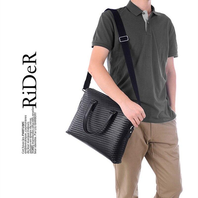 Patrón tejido de lujo de cuero genuino de los hombres bolsos de mano de doble cremallera capas de hombro Casual negro marrón Maletín de negocios - 4