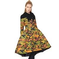 הסוואה ירוקה צבא מעיל מעיל החורף מלא שרוול טלאים נשים חצאית Hem הארוך למטה יוקרה מעיל המשאף מעיל