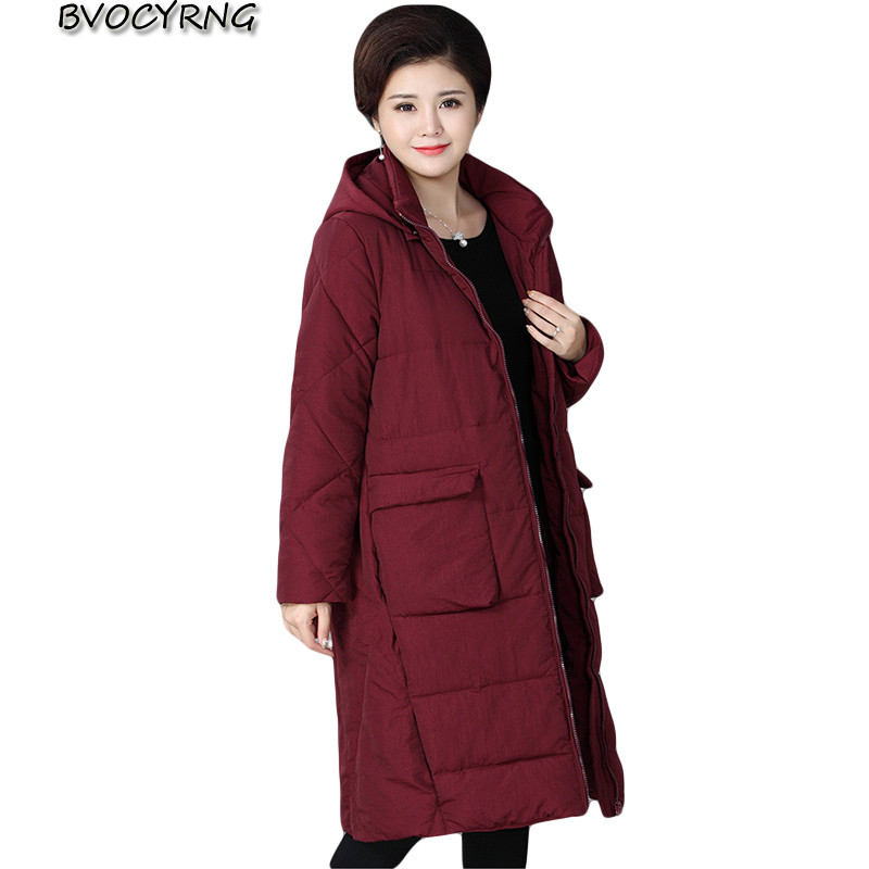 2017 New Fashion Middle-aged Women's Jacket Long Cotton Coats Hooded Plus Size Loose Parka Female Thick Winter Outerwear A0004 plus size cotton coats 2017 new women loose clothing winter thick jacket long sleeve top hooded outerwear abrigos mujer lh010