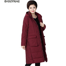 2017 New Fashion Middle-aged Women's Jacket Long Cotton Coats Hooded Plus Size Loose Parka Female Thick Winter Outerwear A0004