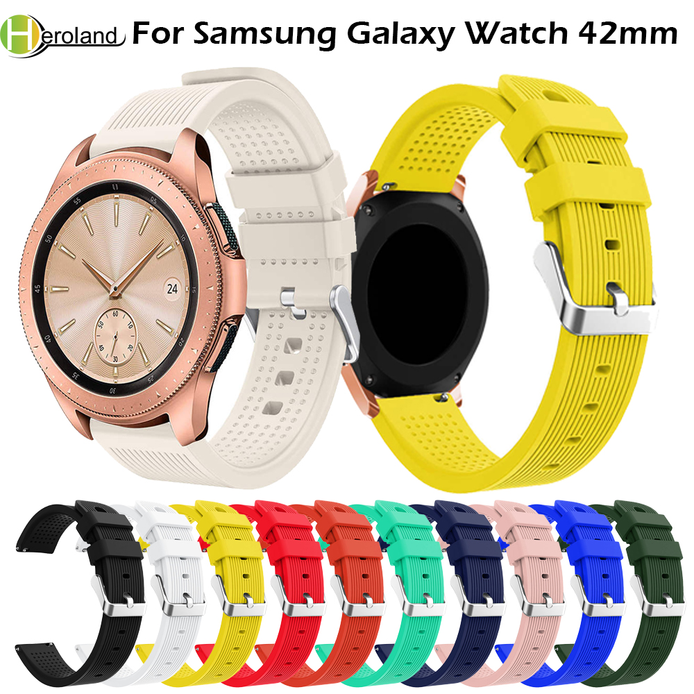 20mm Watch Strap Band Silicone For Samsung Galaxy Watch 42mm Band Strap Smart Bracelet Sport Replacement Accessories Watch Bands аксессуар ремешок samsung galaxy watch 42mm silicone silver et ysu81msegru