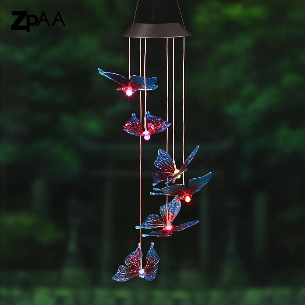 Al aire libre llevó la lámpara Solar colibríes libélula viento jardín decoración luz Solar Powered Color cambiante luz carillón de viento