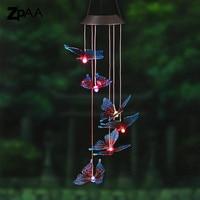 Outdoor LED Solar Lamp Hummingbirds Dragonfly Wind Home Garden Decor Solar Light Solar Powered Color Changing