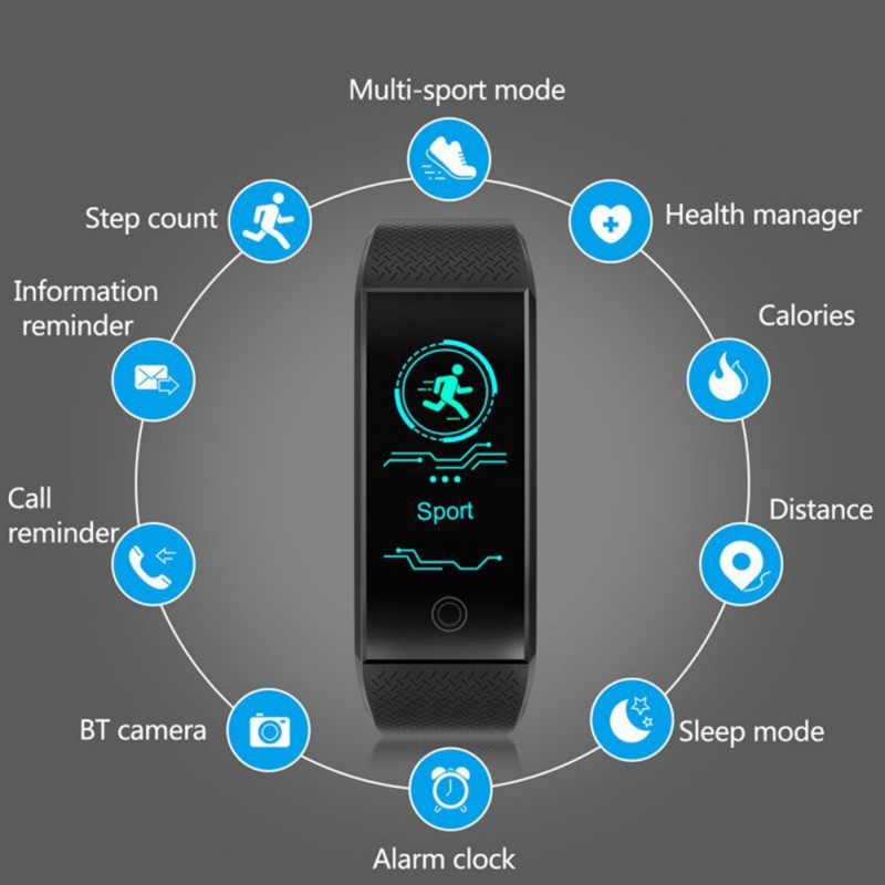 Heart Rate Tracker Fitness Smart Womens Watch Electronic Mens Run Sports Pedometer Pressure Blood Step Digital
