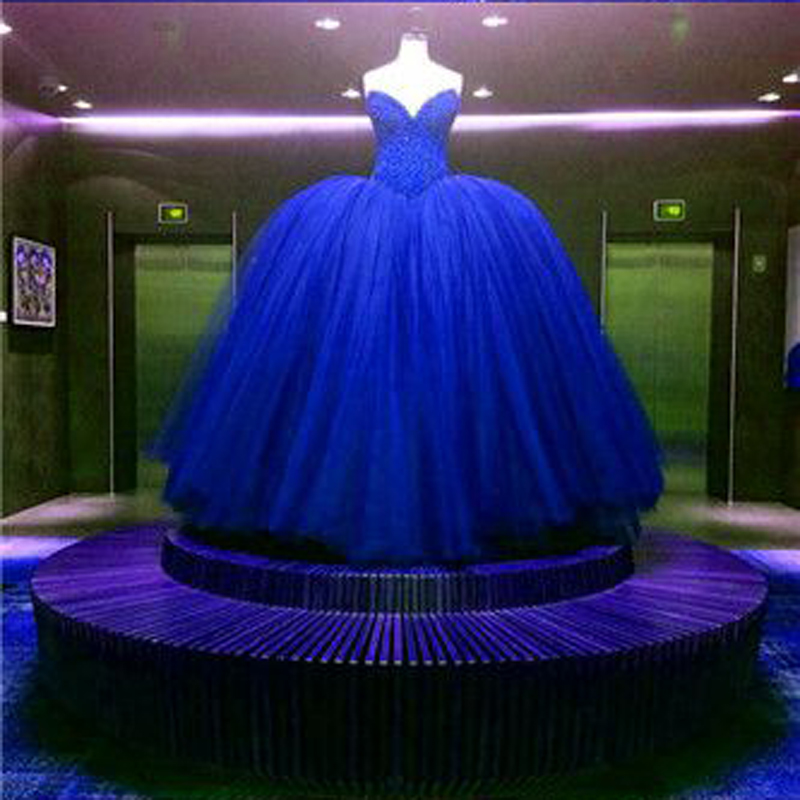 Luxury Bridal Ball Gown Wedding Dress Royal Blue Red