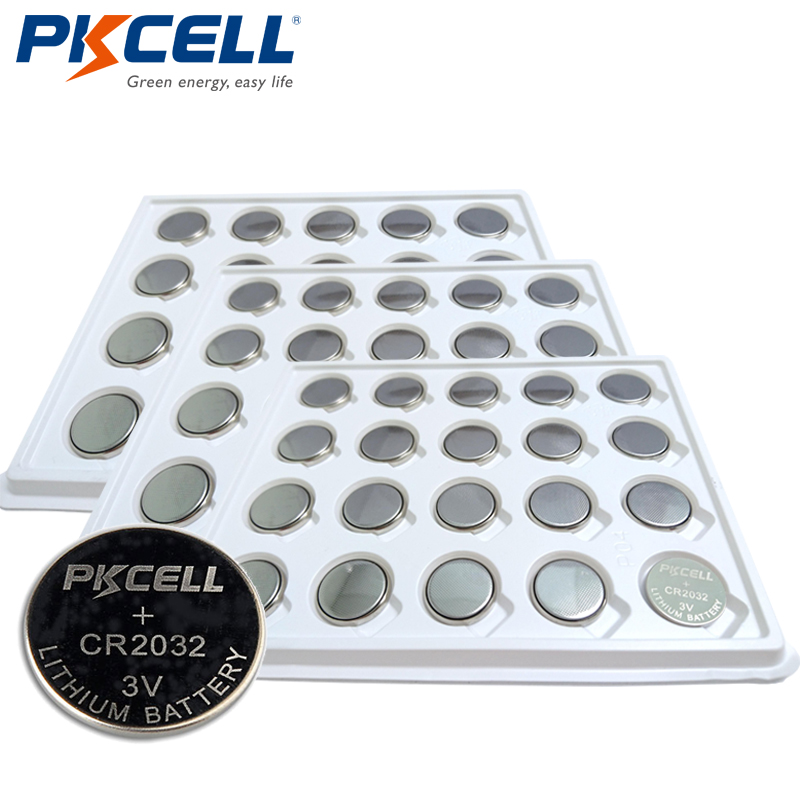 60xPKCELL 3V Battery CR2032 DL2032 ECR2032 5004LC 3Volt CR 2032 Lithium Button Battery Batteries