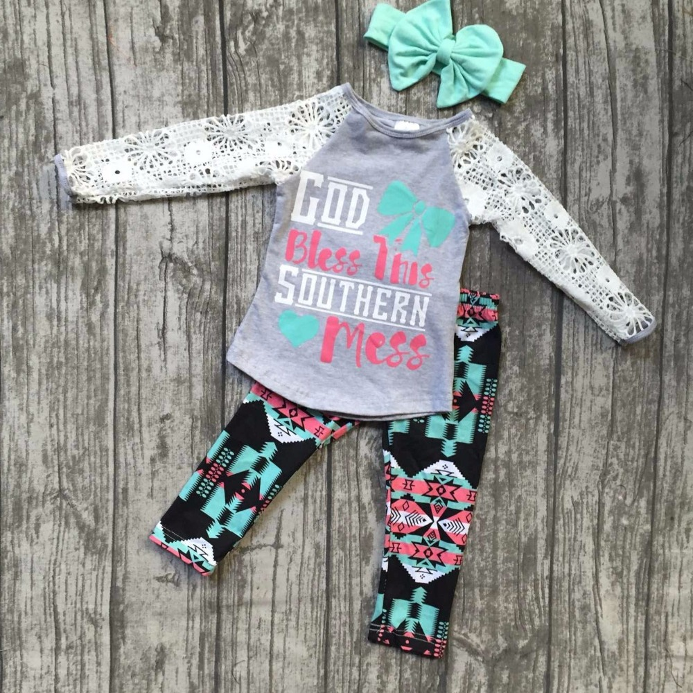 Fall/Winter God bless this southern mess AZTEC pants baby girls cotton lace boutique children clothing with matching accessory fall halloween clothes cutest pumpkin short sleeve orange black sequins suit children boutique long pants with matching bow set
