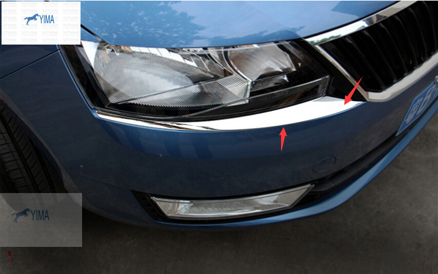 Accessories For Skoda Rapid Spaceback 2014 2015 Stainless Steel Front Head Light Eyelid Cover Trim