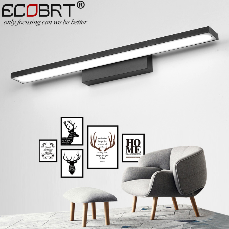 ECOBRT Modern Black LED Wall Lights for home living room Bathroom Mirror Lighting fixtures 40CM 15.7 inch long 85-265V square round modern three heads 9w led crystal mirror wall light for bathroom living room ac 85 265v