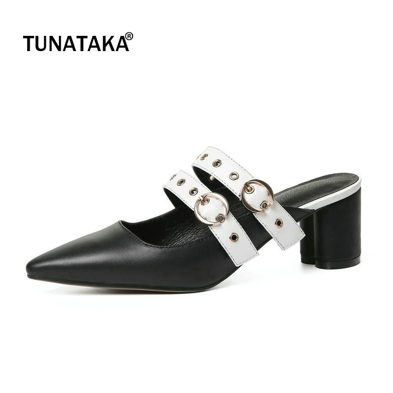 цена на Genuine Leather Comfort Square Heel Slip On Woman Summer Sandals Fashion Pointed Toe Buckle Dress High Heel Shoes Black White