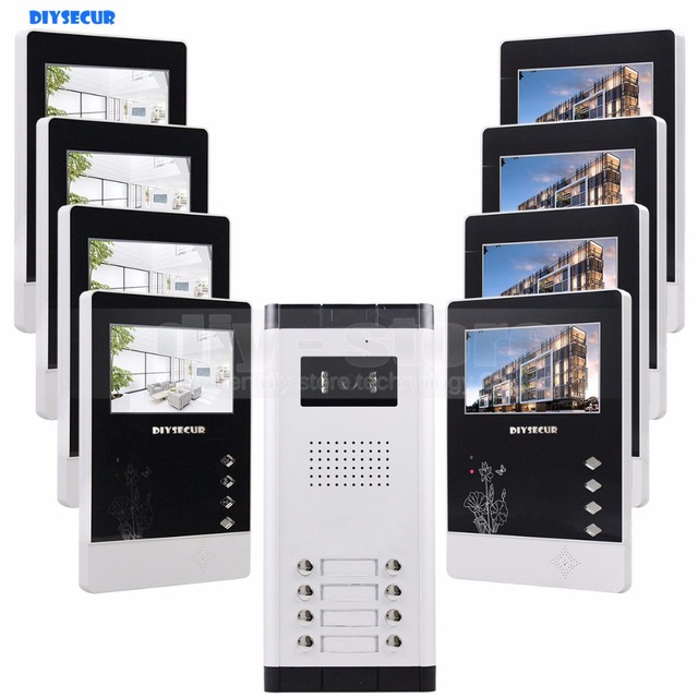 "DIYSECUR 4.3"" 4-Wired Apartment Video Door Phone Audio Visual Intercom Entry System IR Camera For 8 Families"