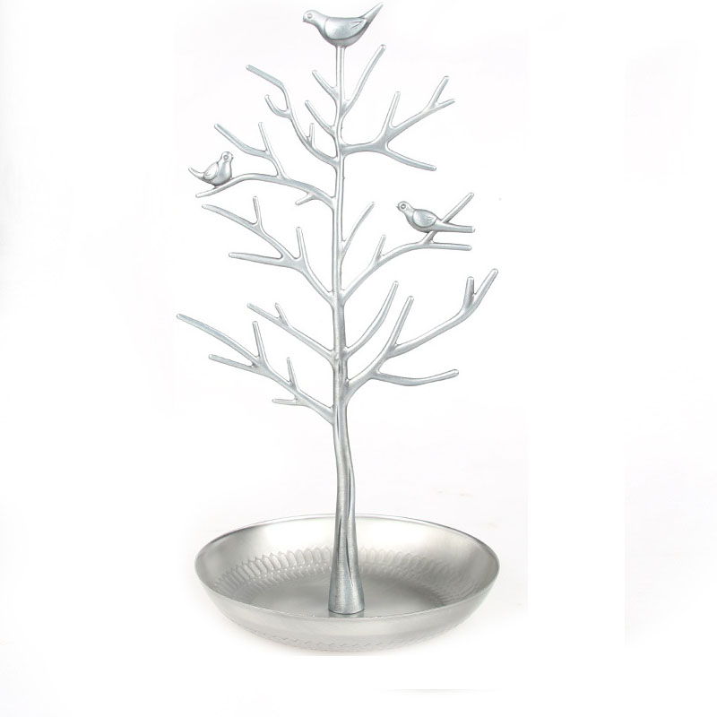 Bird Tree Jewelry Display Stand Earring Necklace Bracelet Rack Holder Display Jewelry holder Retro Silver Size:15*15*31cm(L*W*H)