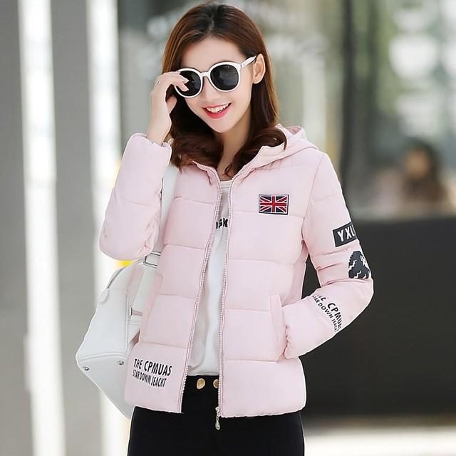 2016 outono e inverno das mulheres novas Coreano parágrafo curto Fino de algodão acolchoado jaqueta de algodão acolchoado-letras