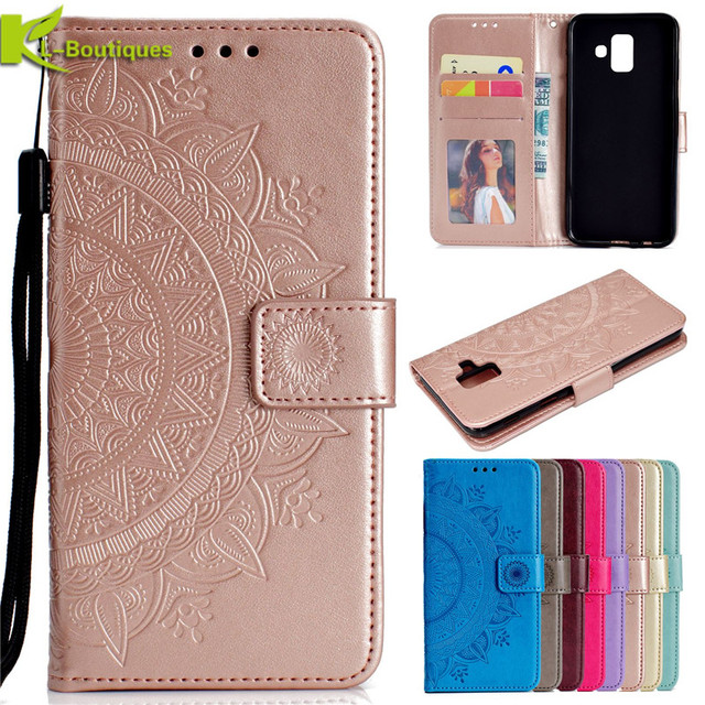 reputable site b43f1 2cd1d US $3.85 10% OFF Case on for Samsung Galaxy A6 2018 Cover Luxury Wallet  Flip Leather Mobile Phone Case for Samsung A6 Plus 2018 A6+ A6 + Coque-in  ...