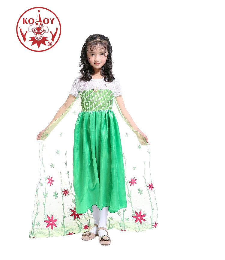 Birthday Dress Up: Beautiful Green Elsa Costume For Girls Princess Dress