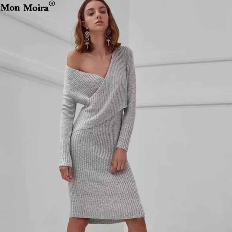 Solide gris 2018 Femme Femmes Casual Noir Sexy 5 New Cws0069 bleu V Robe cou Slim Tricoté Tricots Vintage Automne Fit Hiver EtCqOWRn1