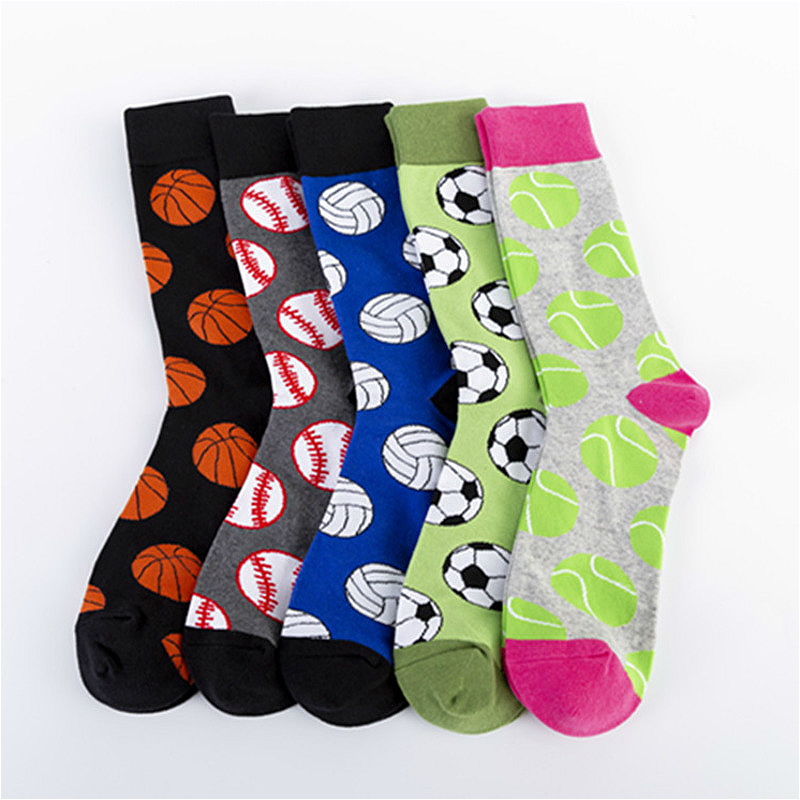 PEONFLY Novelty New 2019 Autumn Winter Men Socks Basketball Soccer Tennis Sports Ball Pattern Happy Socks Cotton Harajuku Sokken