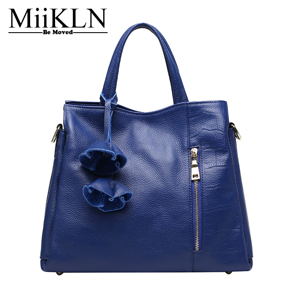 MiiKLN Flower Women Handbags Genuine Leather Casual Tote Female Cow Leather Bags For Ladies Crossbody Shoulder Bag Fashion zency new women genuine leather shoulder bag female long strap crossbody messenger tote bags handbags ladies satchel for girls