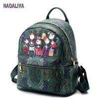 NADALIYA Female Fashion Preppy Style Green Forest Cartoon Image Printing Woman Student Shoulder Bag Leather Backpacks