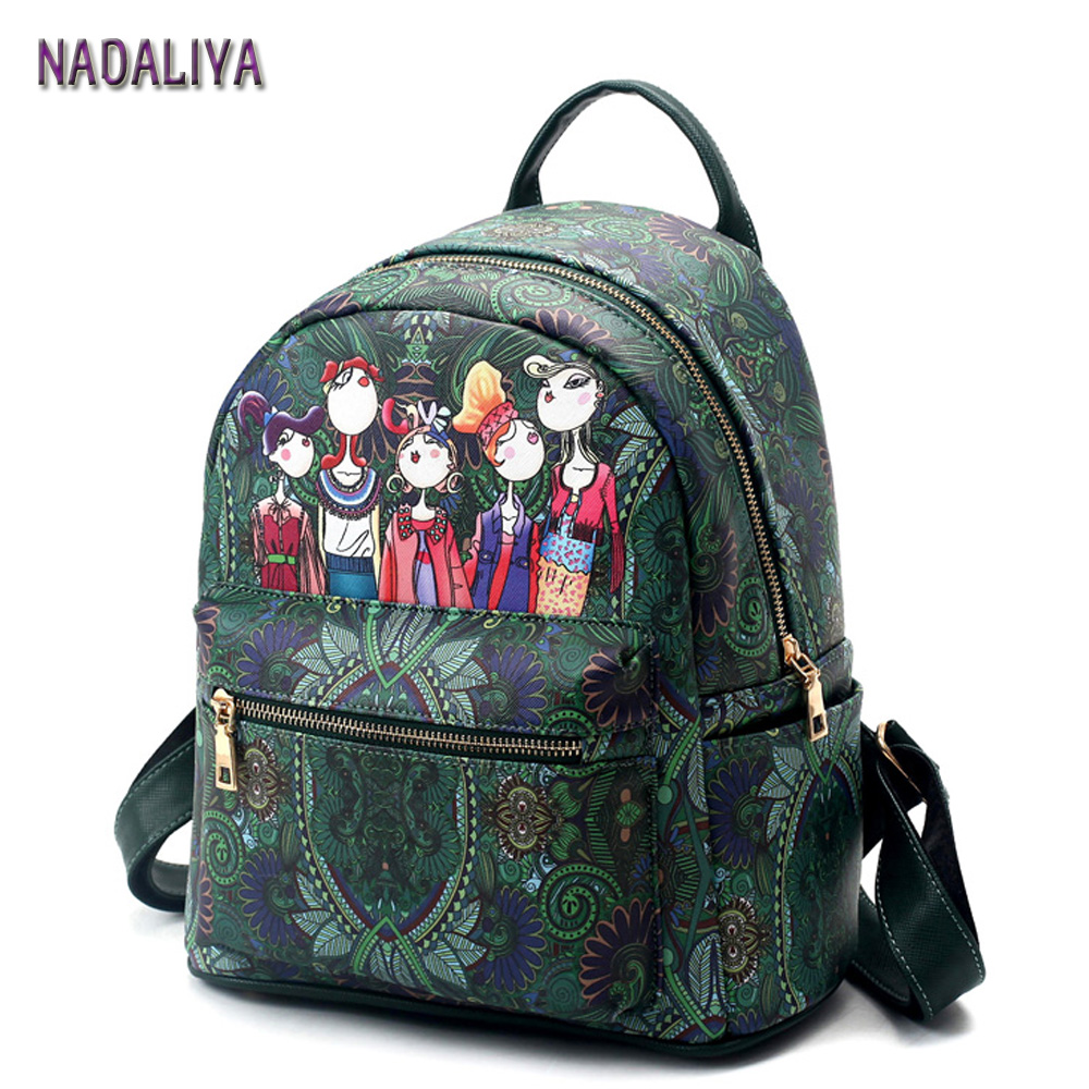 NADALIYA Female Fashion Preppy style Green Forest Cartoon Image Printing Woman Student Shoulder Bag Leather Backpacks Designers