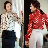 Free Shipping New 2014 Spring And Autumn Wholesale Casual Long Sleeve Shirt Women Korean Chiffon Blouse