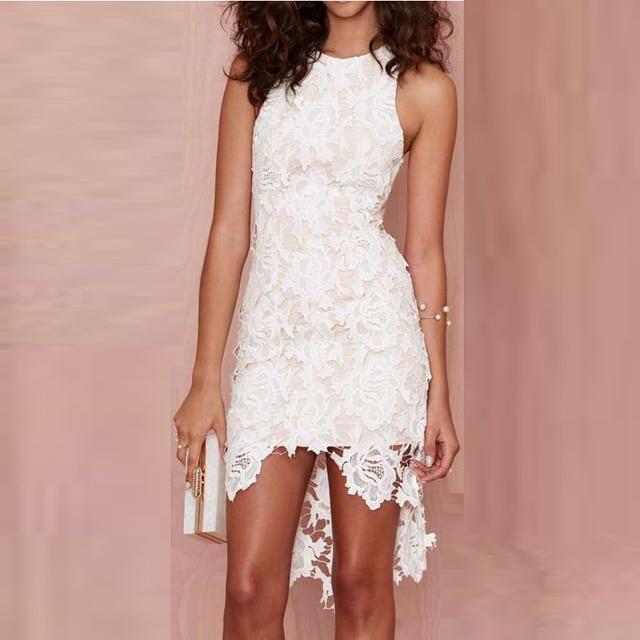 2d84367b844 Blanco vestido corto de cóctel vestido coctel fuera del hombro de encaje  asimétrico cóctel vestido coctel