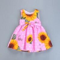 Dziewczyny Lato Sukienka Księżniczka Party Sukienka Bez Rękawów, Kamizelka Na dziewczyny moda dla dzieci sukienka sunflower drukowane dzieci kostium 2-8 y