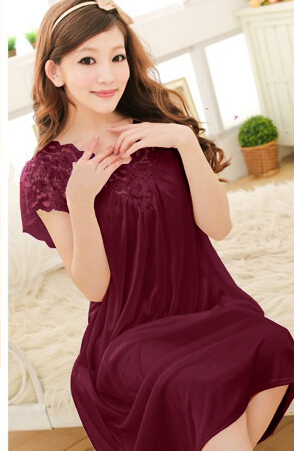 Free shipping women red lace sexy nightdress girls plus size Large size Sleepwear nightgown night dress skirt Y02-4 1