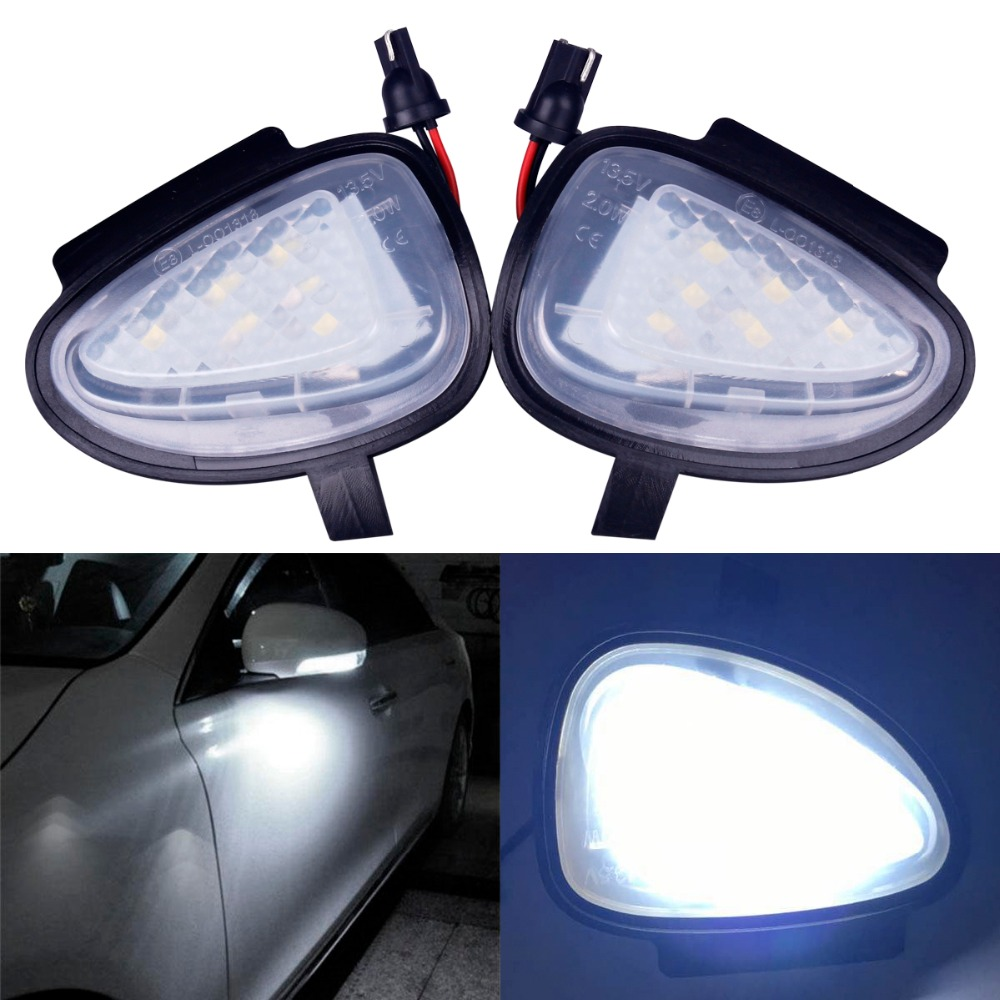 2Pcs Car-styling Auto Error Free LED Underr Sideor Pudd Mirle 6 SMD Lights for Volkswagen VW GTi/Golf MK6 6/MKVI 2010-2014 2pcs car styling auto no error under mirror led puddle light lamp for volkswagen vw golf mk6 gti touran 2011 white accessories