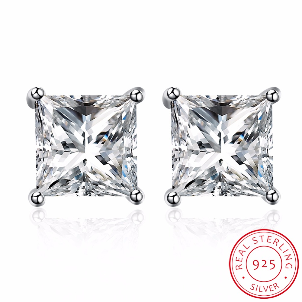 2017 Trendy Men Women Square Crystal Genuine 925 Sterling Silver 4mm 5mm  6mm 7mm 8mm 9mm