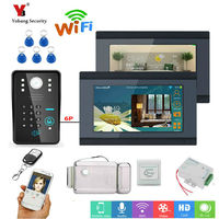 Yobang Security 7inch 2 Monitors Wired/Wifi RFID Password Video Door Phone Doorbell Intercom Entry System with wireless Monitor