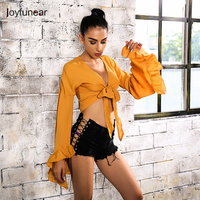 Joyfunear Summer Deep V Neck Bow Crop Top Casual Pink Tank Top Streetwear Sexy Black Beach