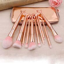 6/10pcs Rose Gold Mermaid Makeup Brushes Set Foundation Powder Eyeshadow Cosmetic Beauty Brush with Bag and Free Gift
