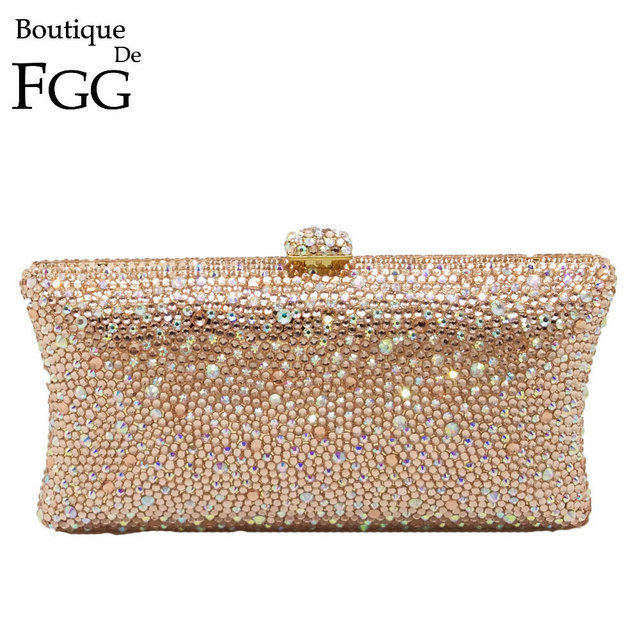 Champagne Peach Diamond Women Crystal Clutch Evening Cocktail Bags Bridal Wedding Party Handbags and Purses Metal Clutches Bag