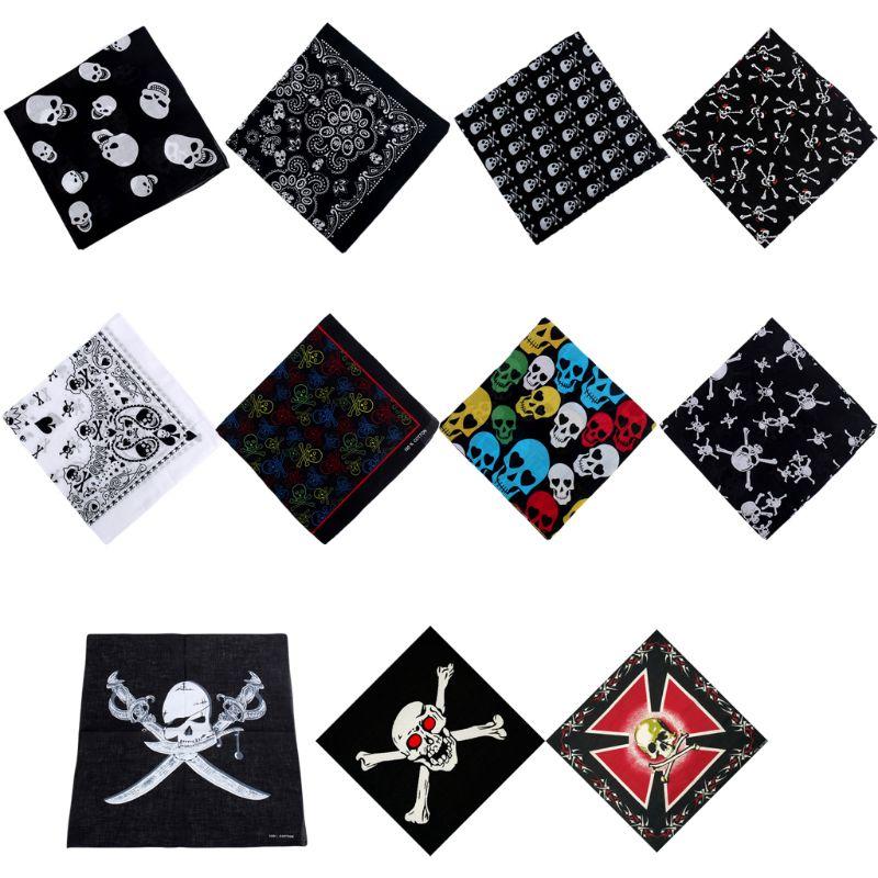 54x54cm Unisex Head Scarf Skull Theme Cotton Fabric Bandanas Graphic Print Gothic Scarf Sport Hip-Hop Wristband Hair Wrap