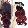 1B Borgonha Borgonha Malaio Onda Do Corpo Malaio Ombre Preto Vermelho Feixes de Tecer cabelo Ombre Vermelho Dois Tons Tecer Cabelo Cor de Vinho 3 Pc
