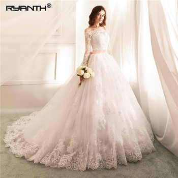 Ryanth Robe De Mariee Ball Gown Wedding Dresses Lace Vestidos de Novia Sexy Luxury Long Sleeve Bride Wedding Gown Trouwjurk 2018 - DISCOUNT ITEM  45% OFF All Category