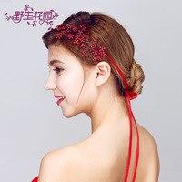 China Red Wedding Handmade Rhinestone Flowers Headband Bridal Hair Accessories