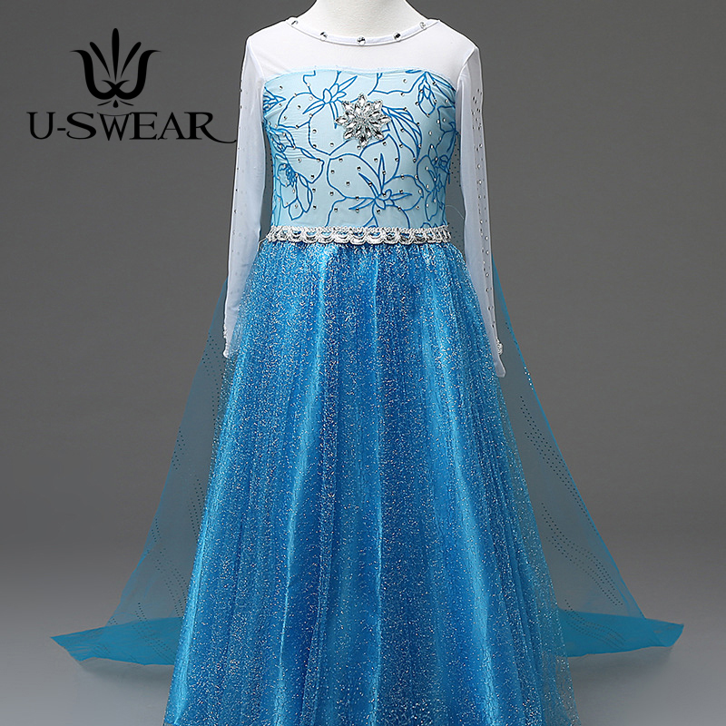 U-SWEAR 2019 New Arrival Kid   Flower     Girl     Dress   Chiffon Crystal Sequined Beaded Long Cloak Back Mermaid Trumpet   Dress   Vestidos