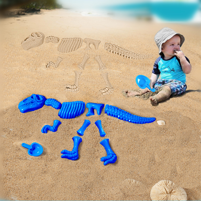 Plastic ABS Baby Dinosaur Sand Mold Set Beach Toys Kids Play Sand Dinosaur Fossil Model Outdoor
